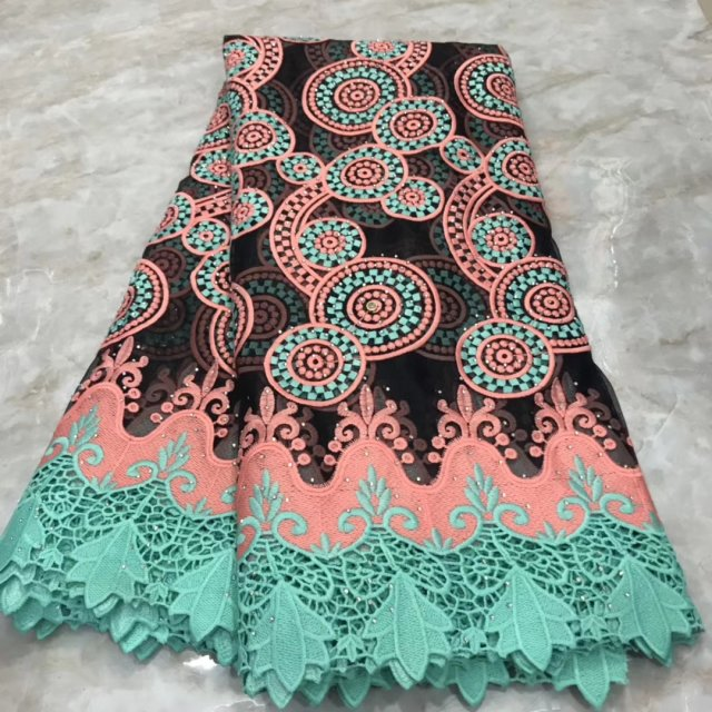 African Tussi Guipure Lace Fabric 2019 Latest High Quality Tulle French Net Lace With Stones Ankara Nigerian Lace For Wedding