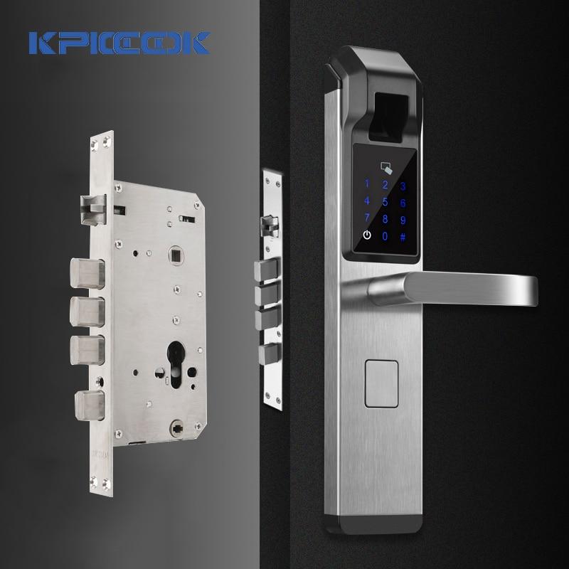 KPIOCCOK Biometric Fingerprint Door Lock Intelligent Electronic Verification With Password & RFID Unlock
