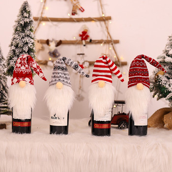 1pc Christmas Red Wine Bottle Covers Bag Linen Holiday Santa Claus Champagne Bottle Cover Christmas Decorations for Home Decor santa claus snowman elk christmas decorations wine bottle cover plaid linen bottle decoration champagne bottles topper bag