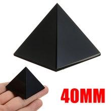 Pirâmide obsidiana preta reiki energia natural, cristal protetor cura para decoração de mesa de home office, 1 peça