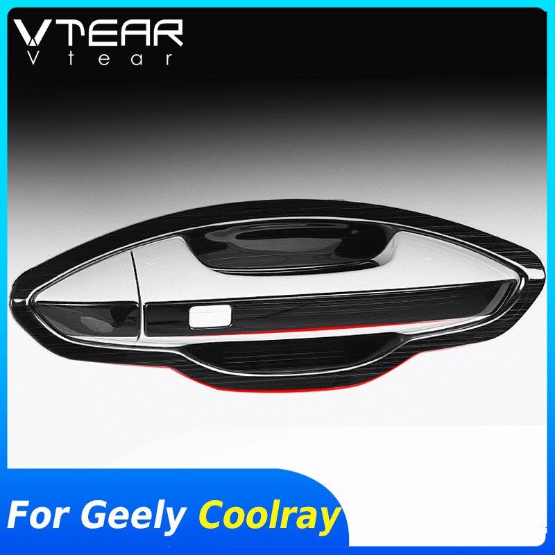 Vtear dla Geely Coolray sx11 zewnątrz drzwi osłona klamki wgłębienie klamki drzwi samochodu chrome stylizacja wykończenie ramy dekoracja ciała akcesoria część