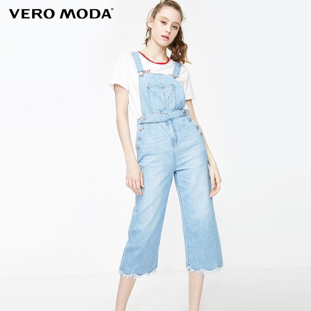 Vero Moda Women's 100% Cotton Washed Faded Capri Denim Jumpsuit | 3192D4504