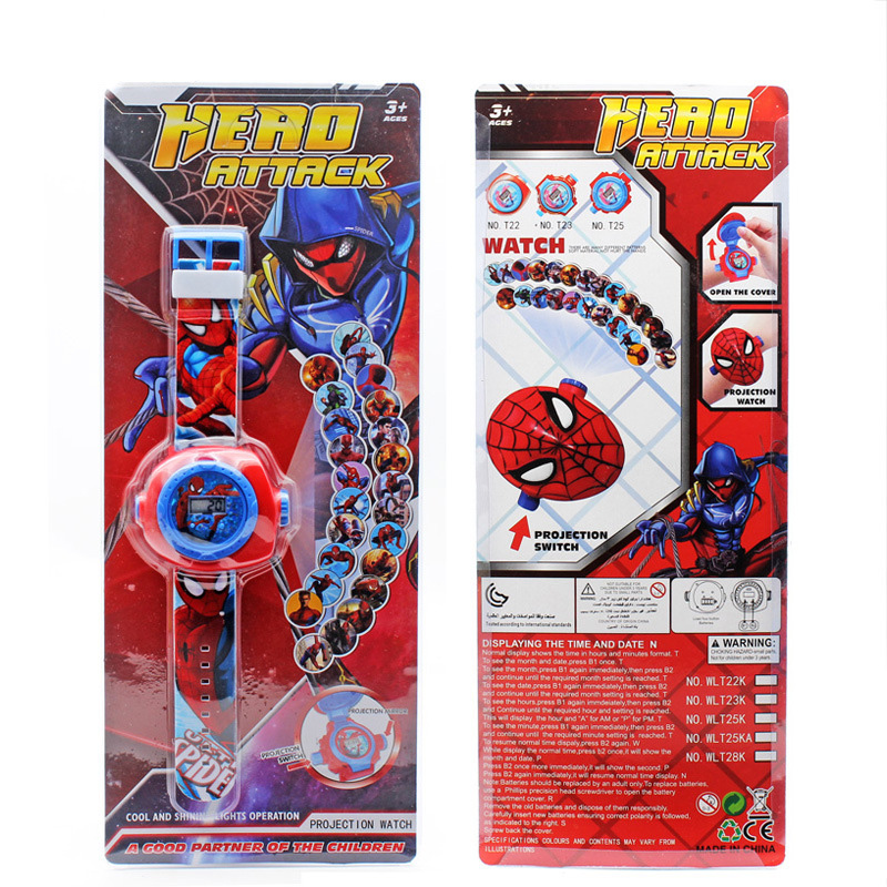 JOYROX Princess Spiderman Kids Watches Projection Cartoon Pattern Digital Child watch For Boys Girls LED Display Clock Relogio