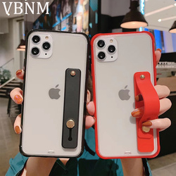 Wrist Strap Acrylic Colorful Frame Phone Case For iPhone 11 Pro Max X XR Xs Max Luxury Case For iPhone 7 8 Plus 6 6s Clear Cover