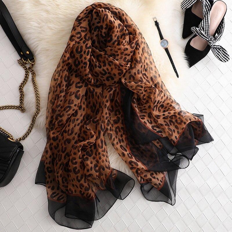 2020 New Classic Silk Women's Scarf Headdress Popular Quality Scarf Women's Fashion Leopard Print Summer Sun Beach Shawl