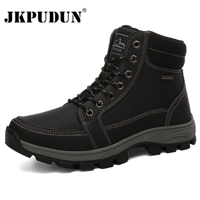 Super Warm Winter Men Boots Genuine Leather Snow Boots Men Winter Work Shoes Men Military Army Ankle Boots For Men Botas JKPUDUN