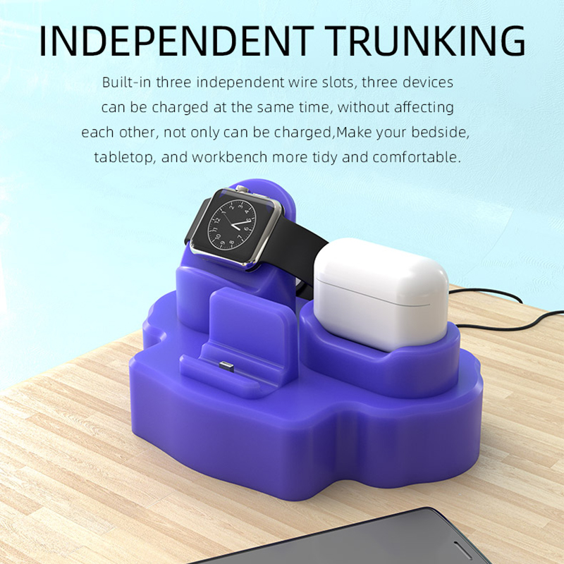 Suitable For IPhone Mobile Phone Watch Headset Desktop Three-in-one Silicone Charging Stand Flat Support Stand For Charger