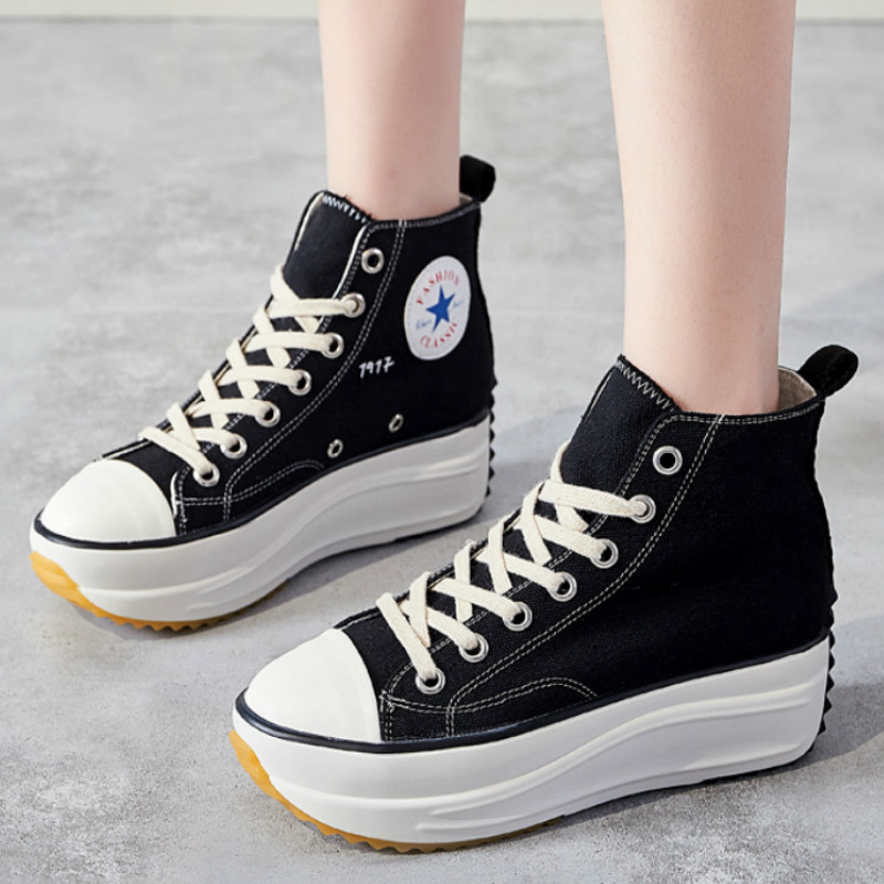 Spring Female Thick Bottom Sports Canvas Shoes Colors Round Toe Platform Shoes Women Flats Shoes Ladies Walking Shoes I1-28