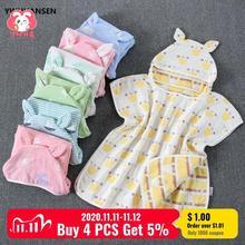 YWHUANSEN 60*60cm 6 warstw gaza ręcznik plażowy z kapturem bawełna dziecko Cape ręczniki miękkie Poncho dzieci kąpiel rzeczy dla niemowląt myjka