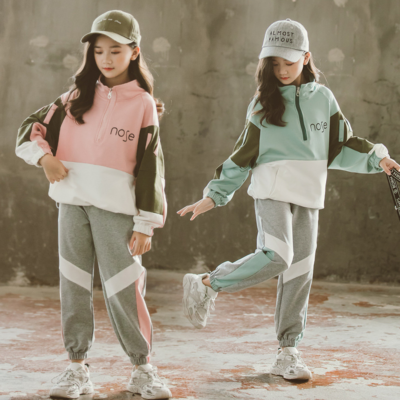 2021 Fashion Big Girls Sports Suits Semi-high Collar Letter Zipper Clothing Set Teenage Spring Autumn Tracksuit Kids Sportswear 1