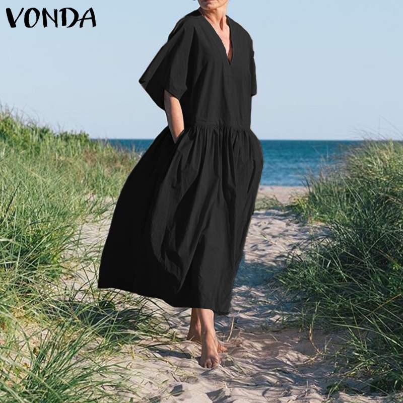 Summer Dress Women Soild Sundress Vintage Half Sleeve V Neck Party Maxi Long Dress 2020 Female Vestidos Plus Size Casual Robe