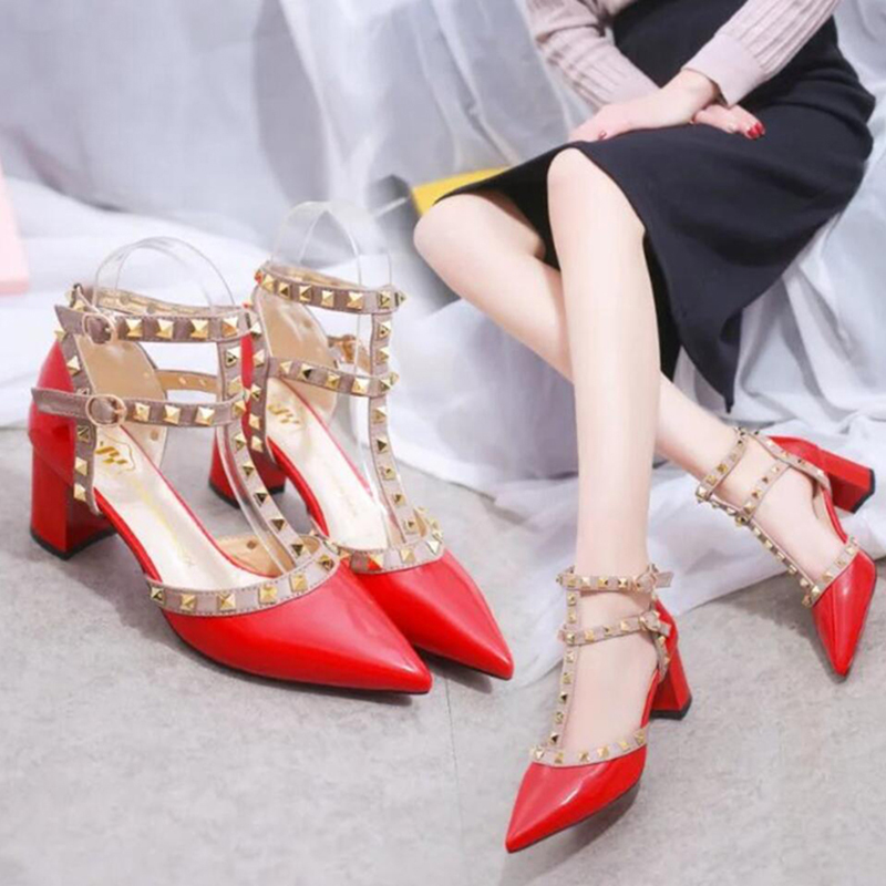 Women Mid-Heeled Pointed Rivet Shoes For Ladies White Red Black Office OL Wear Leather Thick Heeled Party Wedding Shoes New 2020