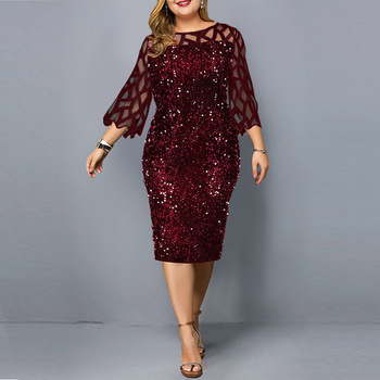 Party Dresses Sequin Plus Size Women's Dress 2020 New Year Plus Size Long Sleeve Bodycon Dress Wedding Evening Party Club Dress
