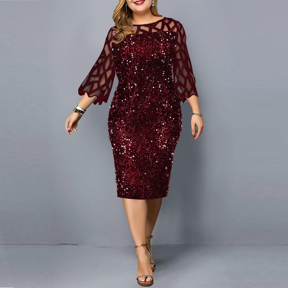 Party Kleider Pailletten Plus Größe frauen Kleid 2021 Sommer Geburtstag Outfit Sexy Rot Bodycon Kleid Hochzeit Abend Nacht Club kleid