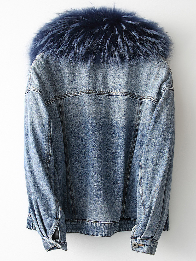 Real Parka Fur Coat Female Natural Fox Fur Liner Denim Jacket Winter Jacket Women Raccoon Fur Collar Korean Jackets MY S