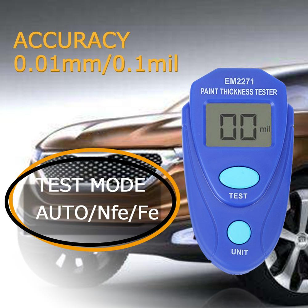 EM2271 Pro Paint Coating Thickness Tester Digital Gauge Meter For Cars Mini LCD