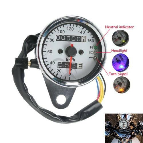 Motorcycle Universal LED Signal Light Backlight Dual Odometer Speedometer Gauge For Harley Honda Yamaha Cafe Racer