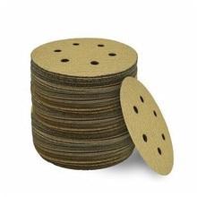 """80 шт. """" 6 отверстий желтые шлифовальные диски Крюк-и-петля наждачная бумага 320 зернистость"""