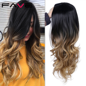 Image 4 - FAVE Long Wavy Wig Ombre Black Brown Blonde Gray Red Synthetic Hair Heat Resistant Fiber For Black Women Daily /Cosplay/Party