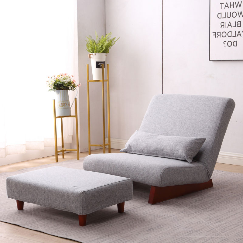 Floor Folding Single Sofa Chair  With Ottoman Japanese Style Lounge Recliner Occasional Accent Chair For Living Room Furniture
