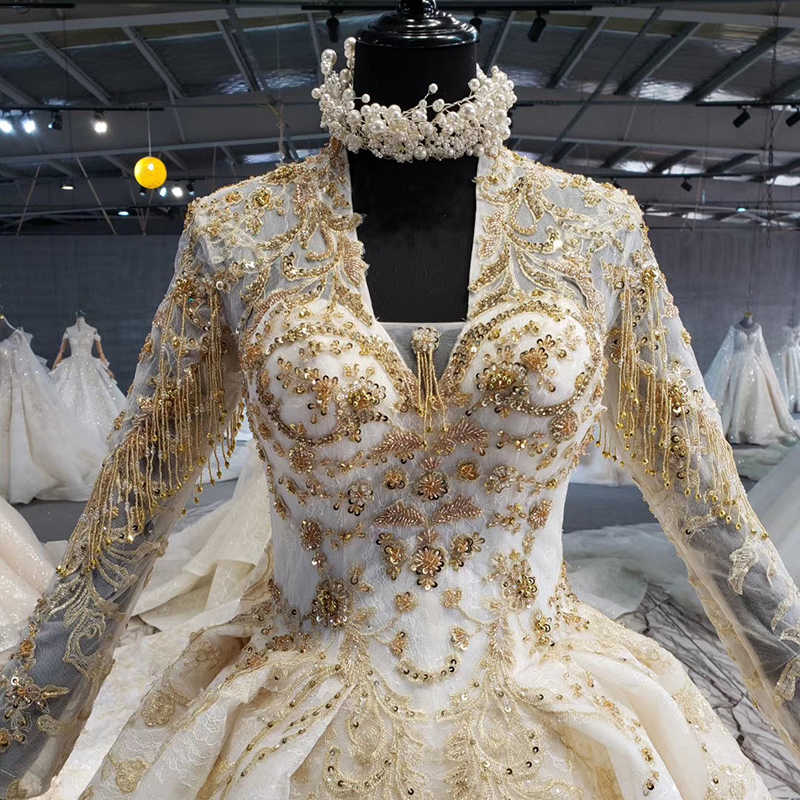 HTL1091 Mewah Lengan Panjang Pernikahan Gaun Watteau Kereta Emas Manik Kristal Pengantin Gaun Pernikahan Gaun Свадебное Платье Plus Ukuran