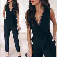 2019 frauen Solide Lace Overall Weibliche Tasche V-ausschnitt Ärmel Belted Mode Lange Legging Strampler Damen Schwarz Casual Overalls