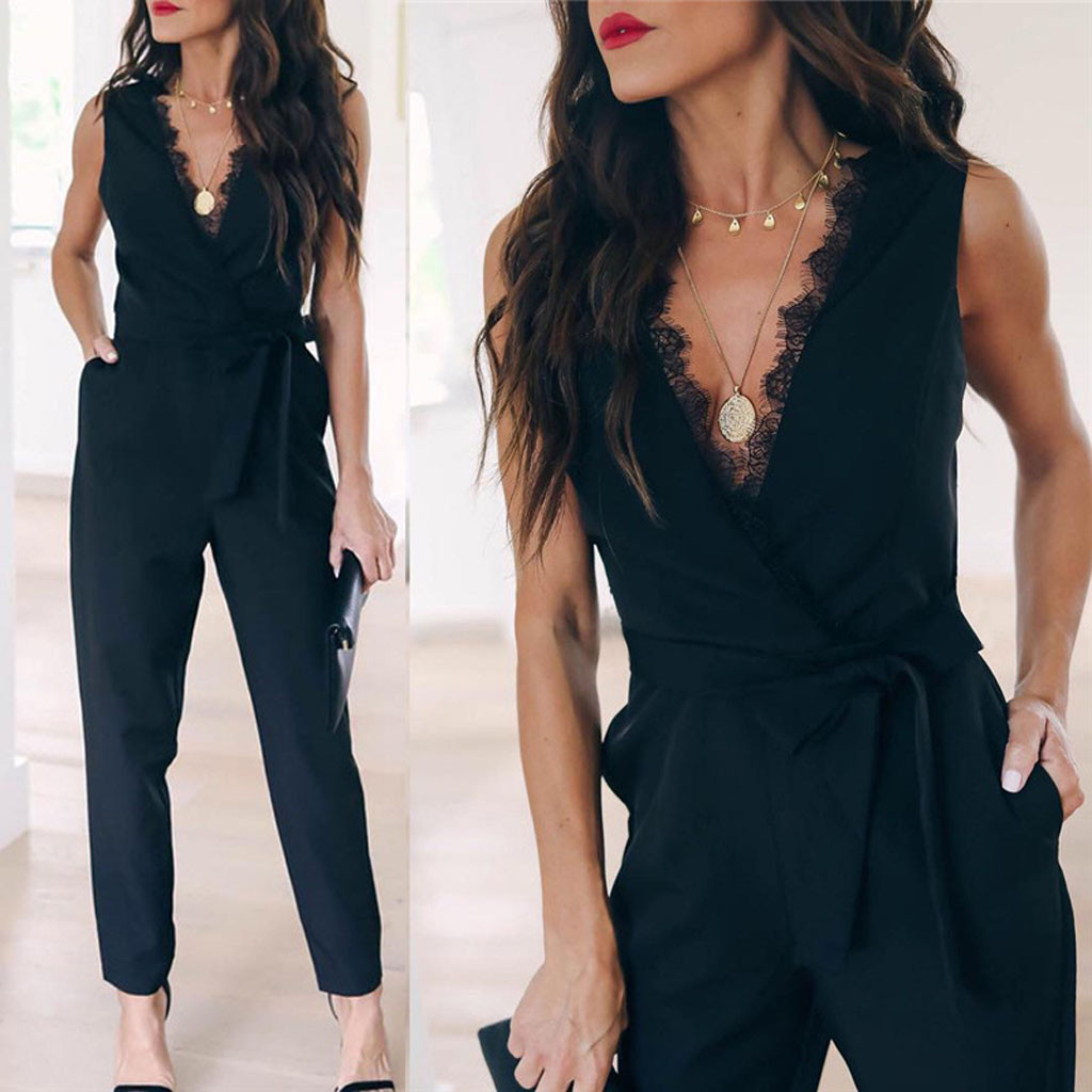2019 Women Solid Lace   Jumpsuit   Female Pocket V Neck Sleeveless Belted Fashion Long Legging Rompers Ladies Black Casual   Jumpsuits