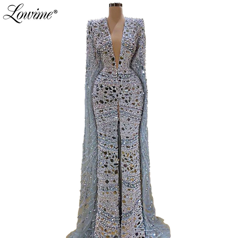 Robe De Soiree Luxury Beaded Crystals Evening Party Dresses Long 2020 Capped Sleeves Mermaid Prom Gown With Cape Prom Dress