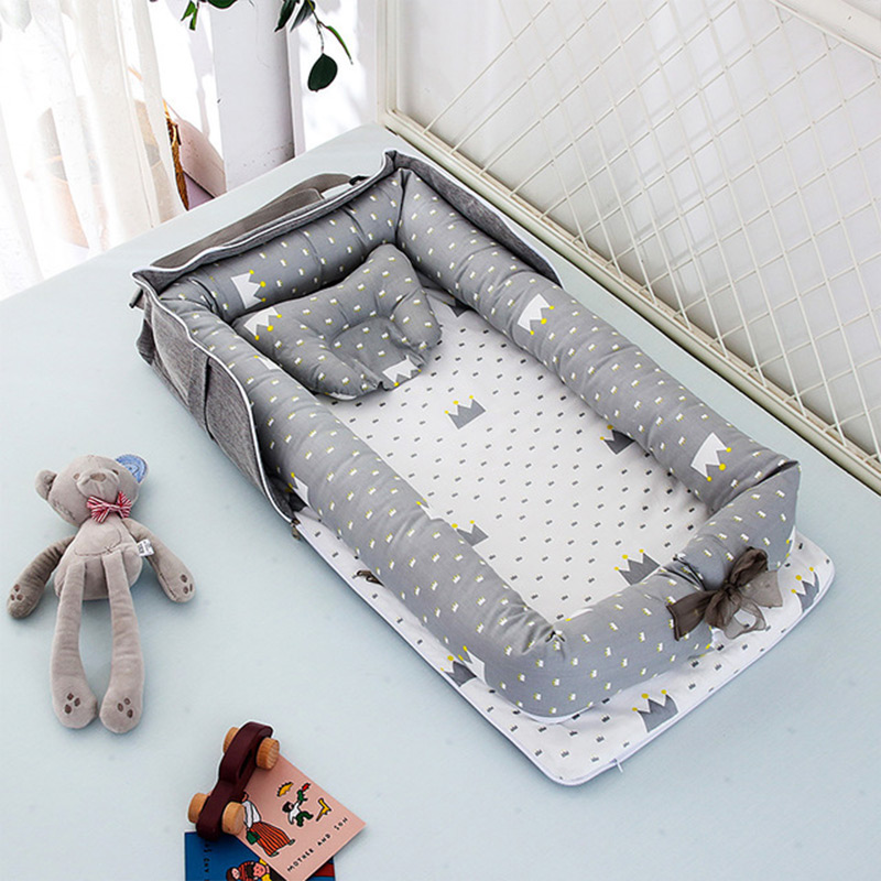 Newborn Foldable Crib Portable Baby Bed Travel Bed Infant Cotton Breathable Basket Protect Cradle Cushion Bumper Crib For Baby