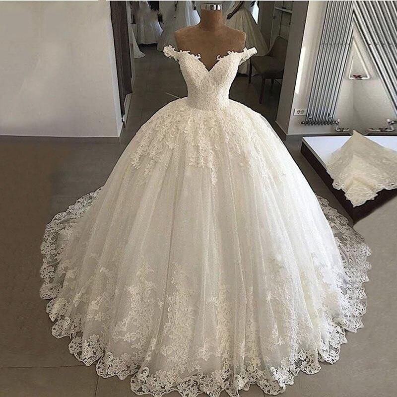 Luxury Princess Ball Gown Boho Wedding Dress Plus Size Appliques Bridal Dresses Vestido De Casamento Off Shoulder Wedding Gowns