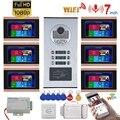 7 дюймовые часы с записью времени проводной Wifi видео домофон 6 квартиры домофона системы с RFID 1080P дверной Звонок камера + Электрический замок ...