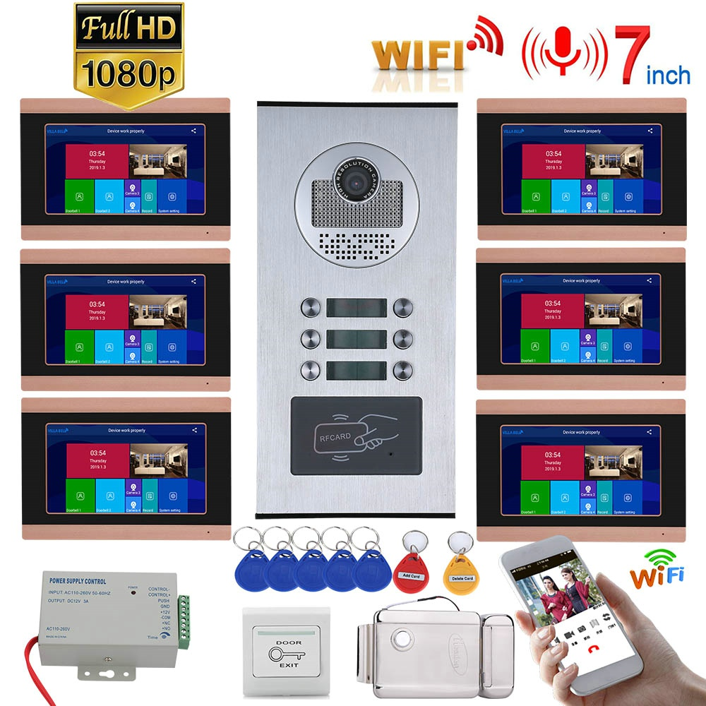 7inch Record Wired Wifi Video Intercom 6 Apartments Doorphone System With  RFID 1080P Doorbell Camera+ Electric Strike Lock