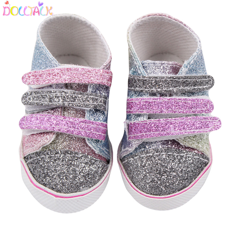 7cm Fashion Sequins Multicolor Shoes Fits 18 Inch Doll 43CM Dolls Baby Doll DIY Shoes For American Doll Girl Boots Toy