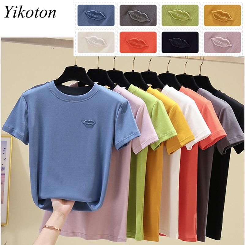 Cotton Summer Women's Clothing Top Women T-shirts Short Sleeve Lips Embroidery Woman T-shirts Basic Tops Female 2021 Tee Shirts 6