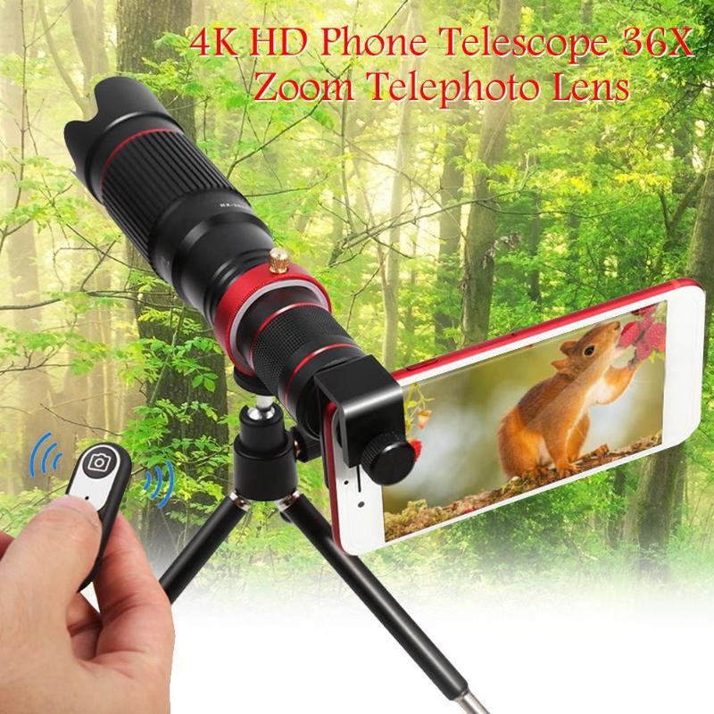 ALLOET 4K HD Phone Telescope 36X Zoom Cellphone Camera Telephoto Lens W/ Tripod Bluetooth Shutter Remote Control For iPhone XS X