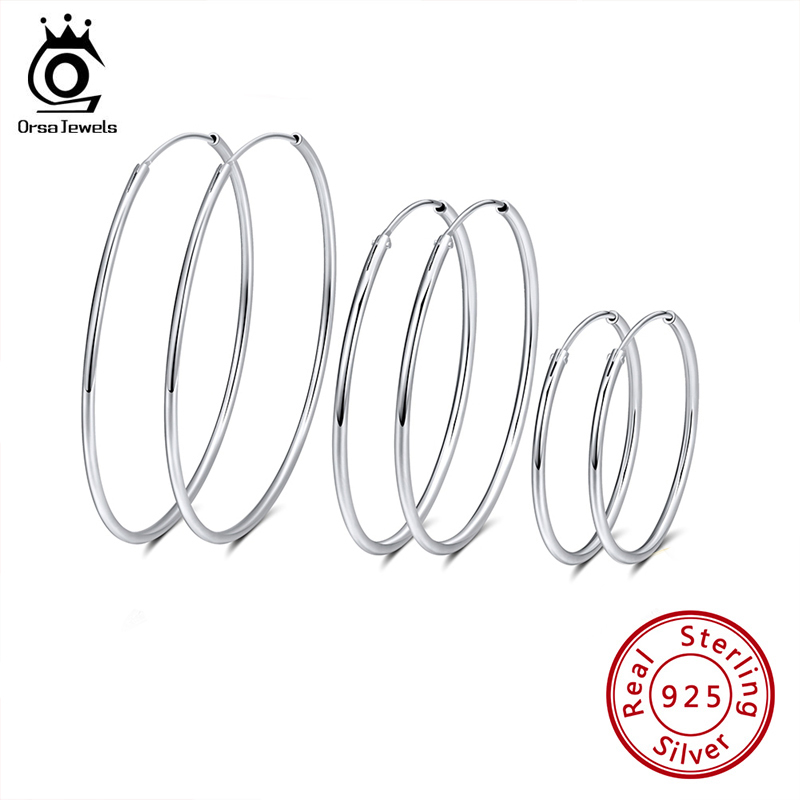 ORSA JEWELS Solid 925 Sterling Silver Round Hoop Earrings For Women 30 40 50 MM Female Circle Earrings Fashion Jewelry SE146