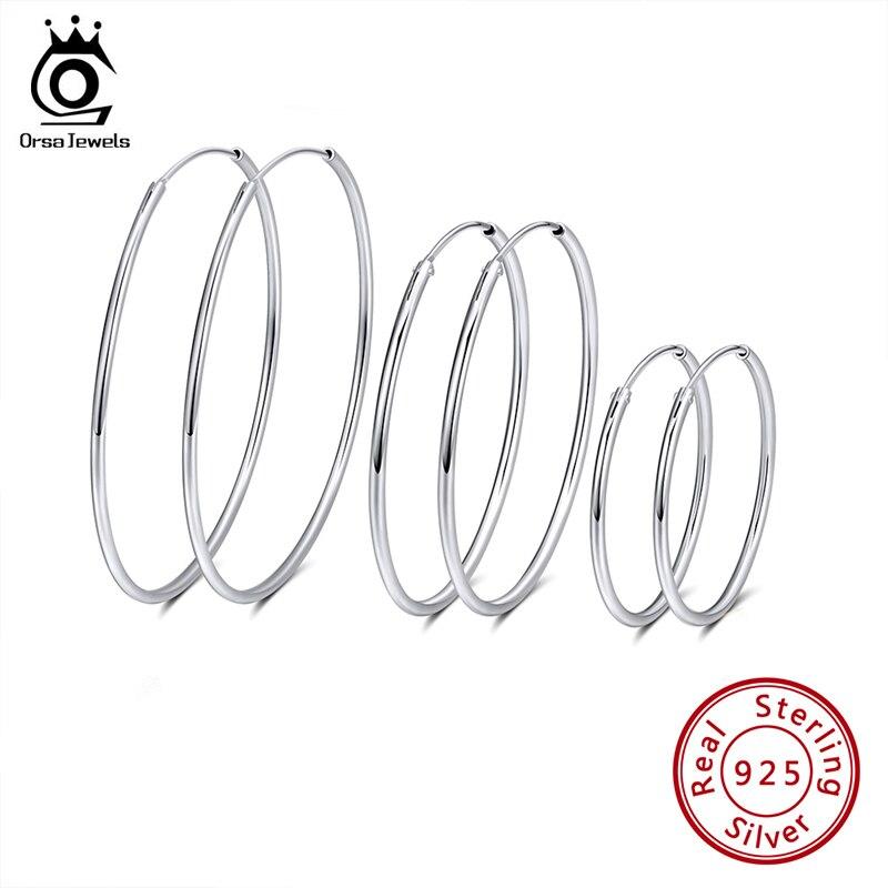 ORSA JEWELS Solid 925 Sterling Silver Round Hoop Earrings For Women 30 40 50 MM Female Circle Earrings Fashion Jewelry SE146