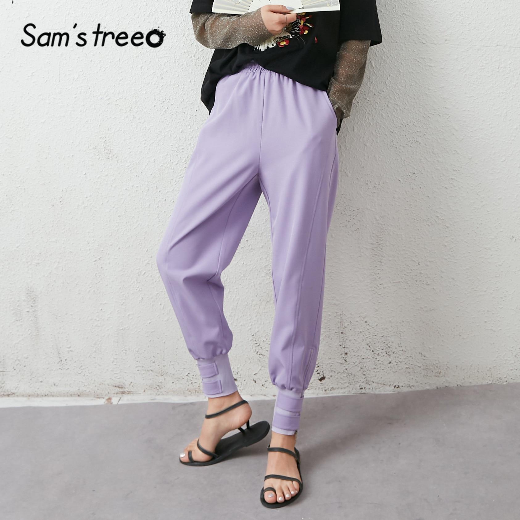 SAM'S TREE Black Solid High Waist Casual Women Pants 2020 Summer Lavender Purple Pure Lace Up Korean Ladies Daily Safari Trouser