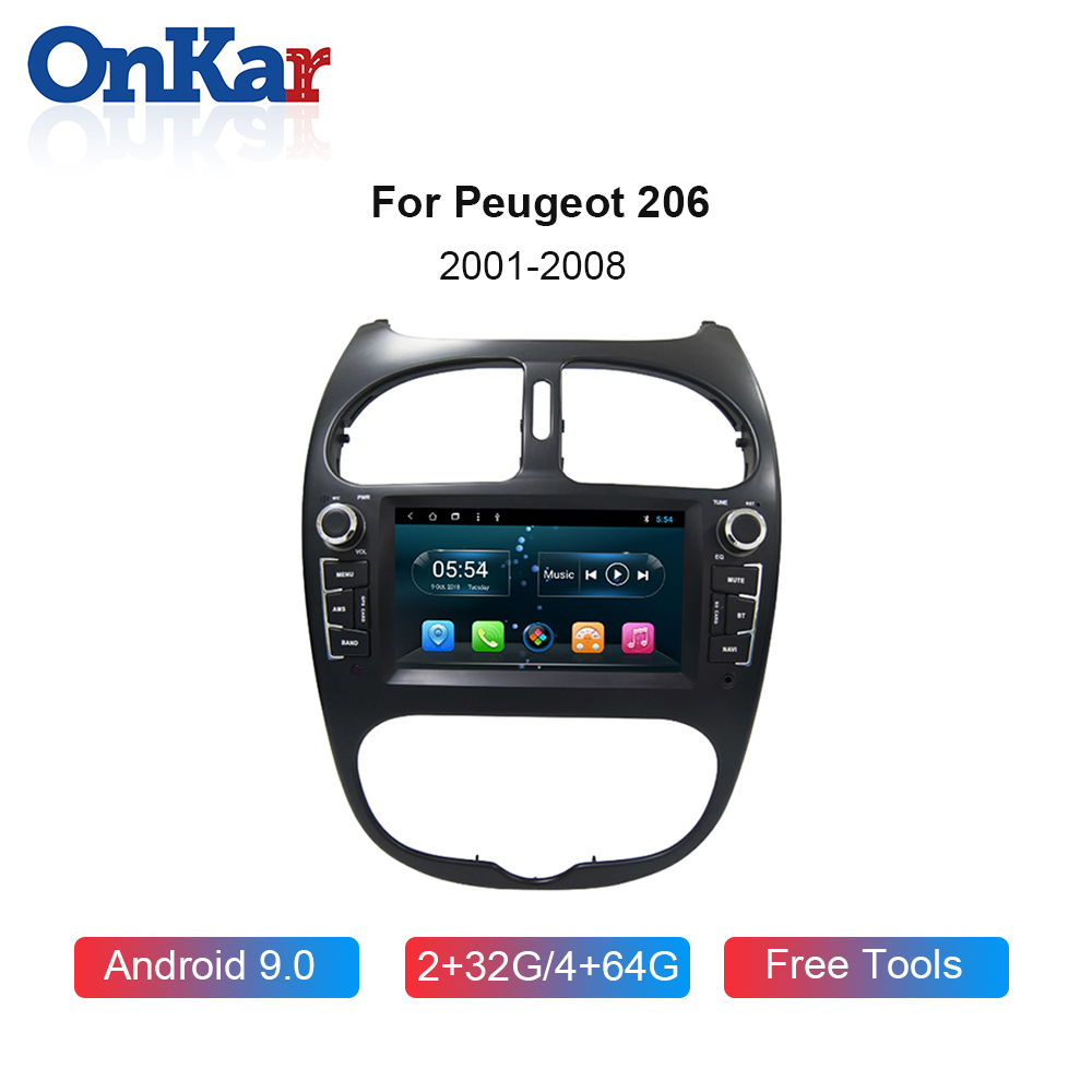 ONKAR 4GB+64GB <font><b>GPS</b></font> Radio For Peugeot 206 <font><b>2001</b></font>-2008 Car Multimedia Video Player Bluetooth 5.0 1 <font><b>din</b></font> dvd player DSP 4G Internet image