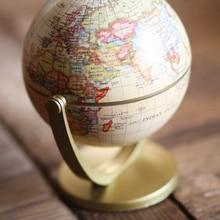 360 Rotating Earth World Ocean Map Ball 12cm Retro Globe Antique Desktop Geography Learning Education Home School Decoration