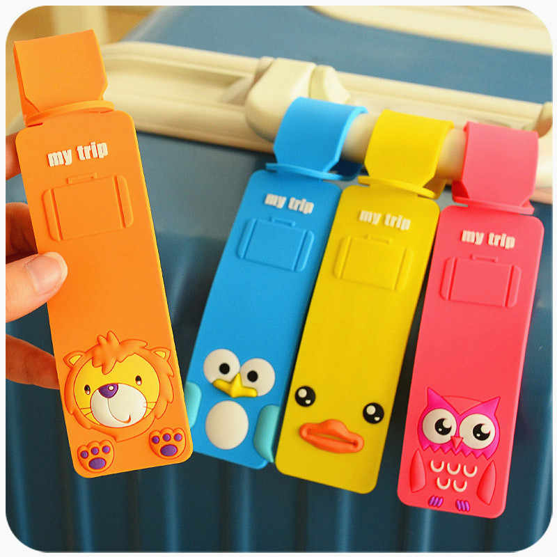 Cartoon Silicone Travel Luggage Tags Baggage Suitcase Bag Labels Name Address Fashion Cute Bag Accessories New Lovely ID Holder