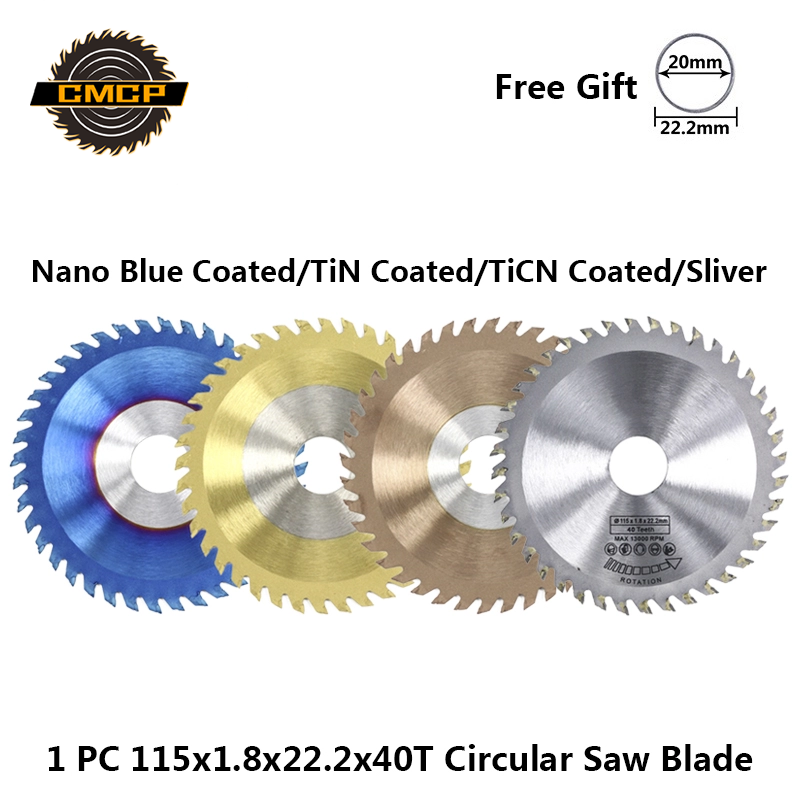 1pc 115x1.8x22.2x40T Circular Saw Blade For Wood Carbide Cutting Discs Nano Blue/TiN/TiCN Coated TCT Saw Blade Woodworking Tools