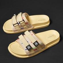 Модные милые летние новые оригинальные мужские тапочки; модный светильник; дышащая обувь на плоской подошве; Мужская брендовая Роскошная Уличная обувь для отдыха; Тапочки
