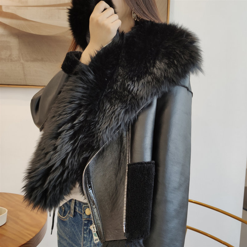 Genuine Leather Jacket Sheepskin Real Fur Overcoat Woman Winter Warm Natural Fur Coat Women New Fashion Double Face Shearling