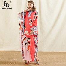 LD LINDA DELLA Fashion Designer 5XL Plus Size Loose Long Dress Women Batwing Sleeve Print Chiffon Summer Vintage Maxi Dress