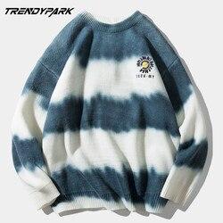 Hommes Streetwear pull pull en tricot surdimensionné Harajuku Vintage rétro rayé mâle pull décontracté coton pull hommes vêtements