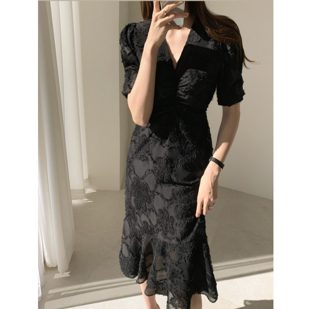 Hf17643759e5446c6bbc8be783f58a85d0 - Spring / Autumn V-Neck Short Sleeves Waist-Controlled Creased Midi Dress