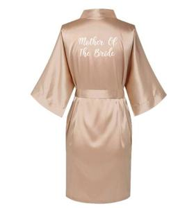 Image 2 - Satin Silk Robes Plus Size Wedding BathRobe Bride Bridesmaid Dress Gown Women Clothing Sleepwear Maid of Honor Rose Gold