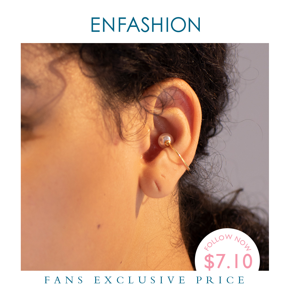 ENFASHION Pearl Ear Cuff Clip On Earrings For Women Gold Color Minimalist Earcuff Simple Earings Without Piercing Jewelry E1132(China)