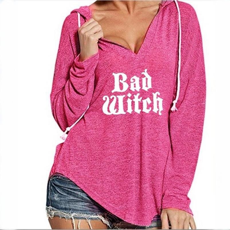 Für Frauen V-ausschnitt Hoodies SCHLECHTE HEXE Briefe Drucken Hoodies Sweatshirt Femmes Tops Frauen Hoody Jugend Sweatshirts Frauen Drucken